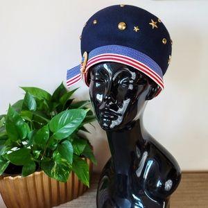 VTG 60s Frank Olive Patriotic Wool Felt Hat